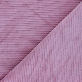 Tissu velours jersey grosses côtes - rose x 10cm