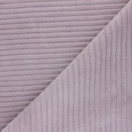 Thick ribbed velvet jersey fabric - old pink x 10cm