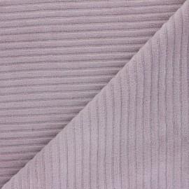 Tissu velours jersey grosses côtes - vieux rose  x 10cm