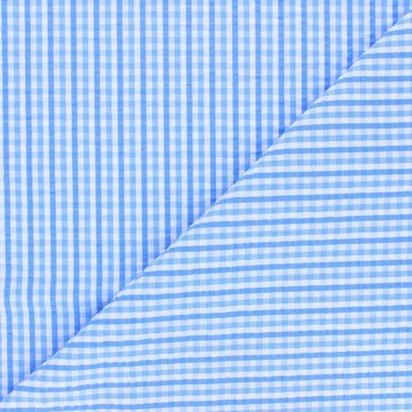 Tissu seersucker vichy Morgan - bleu ciel x 10cm