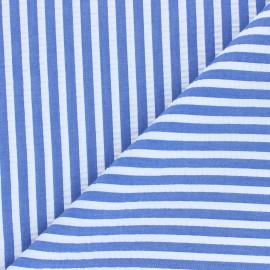 Tissu seersucker rayé Augustin - bleu saphir x 10cm