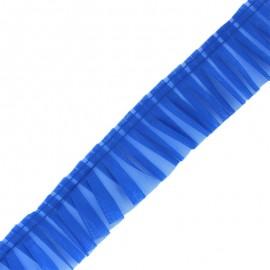 Galon plissé organza 6 cm - bleu x 1m