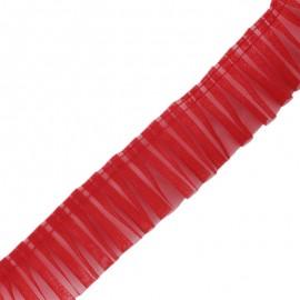 Galon plissé organza 6 cm - rouge x 1m