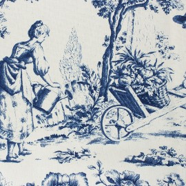 Toile de Jouy Fabric - Courtisane Blue / Ecru x 10cm