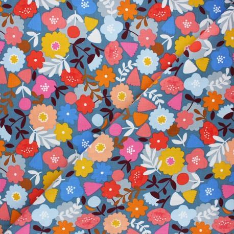 Tissu velours milleraies Meadow safari - fleur x 10cm