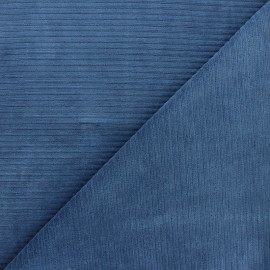 Thick ribbed velvet jersey fabric - swell blue x 10cm