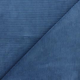 Tissu velours jersey grosses côtes - bleu houle x 10cm