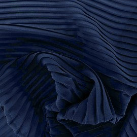 Tissu crêpe léger plissé - bleu nuit x 50cm