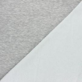 Tissu sweat envers minkee uni - gris chiné x 10cm