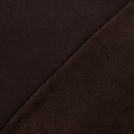 Tissu sweat envers minkee uni - marron x 10cm
