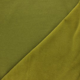 Tissu sweat envers minkee uni - vert mousse x 10cm
