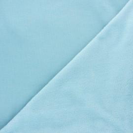Tissu sweat envers minkee uni - bleu ciel x 10cm