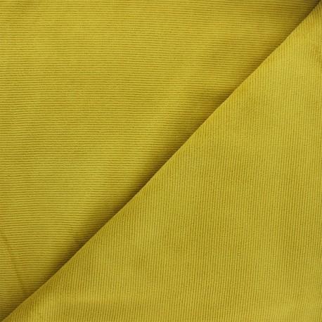 Tissu velours jersey milleraies  - jaune curry x 10cm