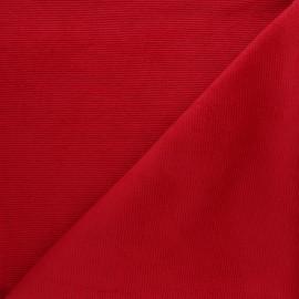 Tissu velours jersey milleraies  - rouge x 10cm