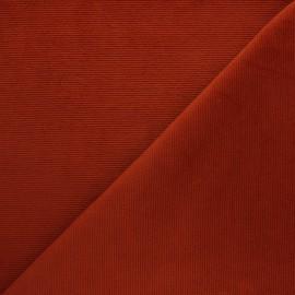 Tissu velours jersey milleraies  - rouge brique x 10cm