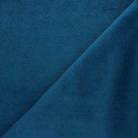 Milleraies velvet jersey fabric - duck blue x 10cm