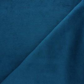 Tissu velours jersey milleraies  - bleu canard x 10cm