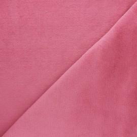 Tissu velours jersey milleraies  - rose bonbon x 10cm