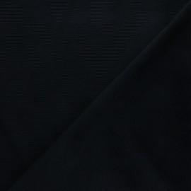 Tissu velours jersey milleraies  - noir x 10cm