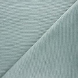 Tissu velours jersey milleraies  - céladon x 10cm