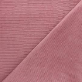 Tissu velours jersey milleraies  - rose x 10cm