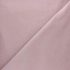 Tissu velours jersey milleraies  - eau de rose x 10cm