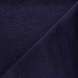 Tissu velours jersey milleraies  - aubergine x 10cm