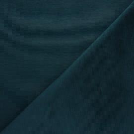 Tissu velours jersey milleraies  - paon x 10cm