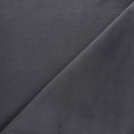 Milleraies velvet jersey fabric - dark grey x 10cm