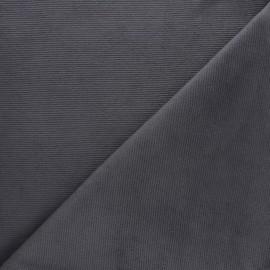 Tissu velours jersey milleraies  - gris foncé x 10cm