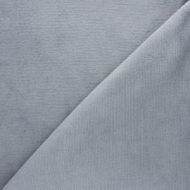 Tissu velours jersey milleraies  - gris souris x 10cm