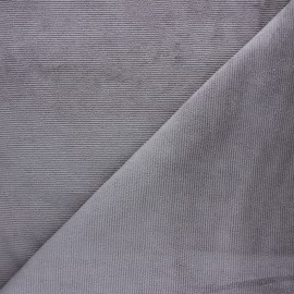 Milleraies velvet jersey fabric - grey x 10cm