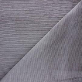 Tissu velours jersey milleraies  - gris x 10cm