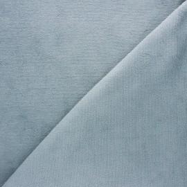Tissu velours jersey milleraies  - gris fumée x 10cm