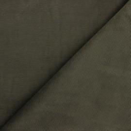 Tissu velours jersey milleraies - vert kaki x 10cm