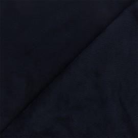 Tissu sweat envers minkee uni - bleu marine x 10cm