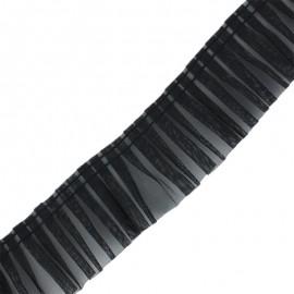 Galon plissé organza 6 cm - noir x 1m