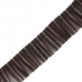 Galon plissé organza 6 cm - marron x 1m