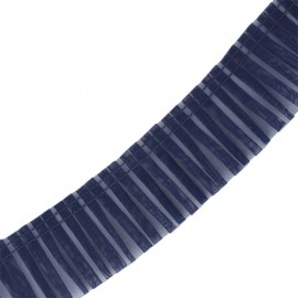 Galon plissé organza 6 cm - bleu marine x 1m