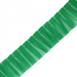 Galon plissé organza 6 cm - vert x 1m