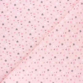 Tissu coton cretonne Syrma - rose clair x 10cm