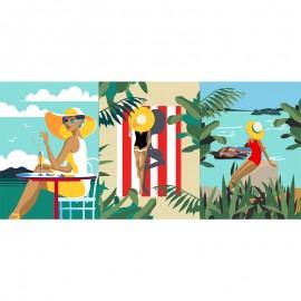 Tissu toile de coton panneau - Fréjus x 71 cm