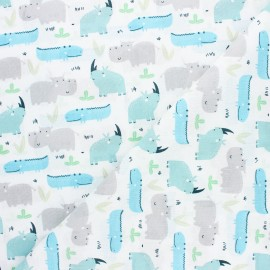 Cretonne cotton fabric - blue Rhino x 10cm