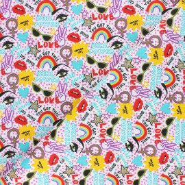 Tissu coton cretonne Chupa - blanc x 10cm