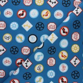 Tissu coton cretonne Stop - bleu x 10cm
