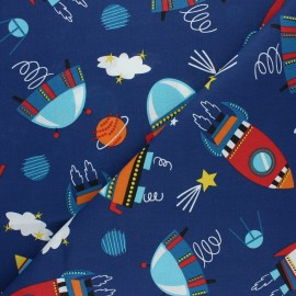 Cretonne cotton fabric - navy blue Cosmic x 10cm