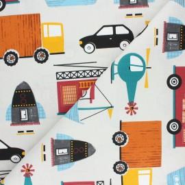Tissu coton cretonne Engins - grège x 10cm