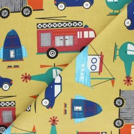 Tissu coton cretonne Engins - jaune moutarde x 10cm