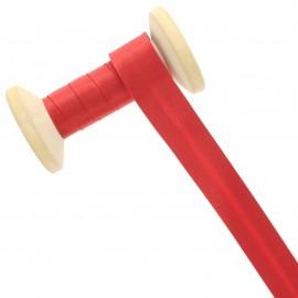 Biais Satin 20 mm - rouge coquelicot - Bobine de 25 m