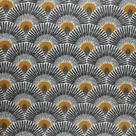 Coated cretonne cotton fabric - mustard yellow Ramos x 10cm